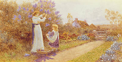 In A Row Painting - Lilacs by Thomas James Lloyd