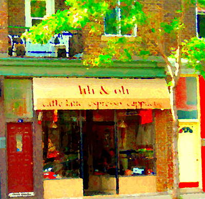 Montreal Buildings Painting - Lili And Oli Latte Espresso Cappucino Coffee Shop Rue Notre Dame St Henri City Scene Carole Spandau by Carole Spandau