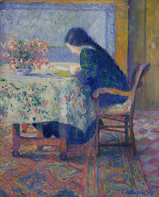 Lili Butler Reading At The Butler House. Giverny Art Print