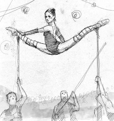 Split Drawing - Lili On The Poles. by H James Hoff