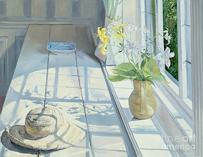 Window Sill Painting - Lilies And A Straw Hat by Timothy Easton
