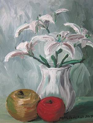 Lilies And Apples Art Print by Maria Melenchuk