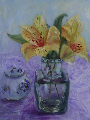 Painting - Lilies In A Glass Vase by Carol Berning