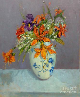 Lilies In Delft Art Print by Kathleen Hoekstra