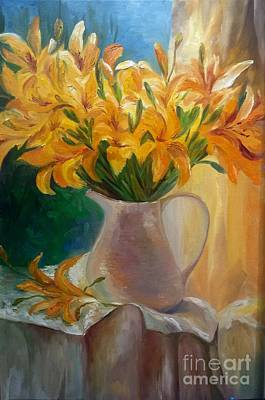Painting - Lilies  by Irene Pomirchy