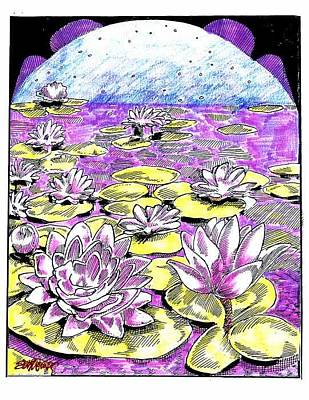 Art Print featuring the drawing Lilies Of The Lake by Seth Weaver