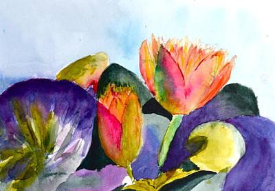 Lotus Bud Painting - Lilies Of The Water by Beverley Harper Tinsley