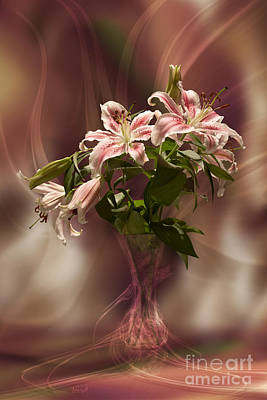 Digital Art - Lilies With Floating Vas by Johnny Hildingsson
