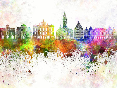 Grunge Painting - Lille Skyline In Watercolor Background by Pablo Romero
