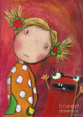 Colored Painting - Lilli With Her Monster by Sonja Mengkowski