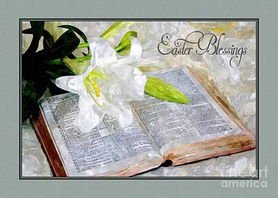 Digital Art - Lilly And Bible Easter Blessings by JH Designs