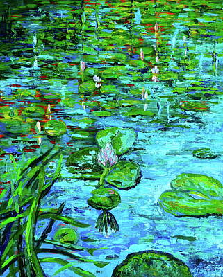 Lilly Pond Painting - Lilly Pads by Linda J Bean
