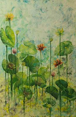 Lilly Pond Painting - Lilly Pond Drips by Jennifer McCarty