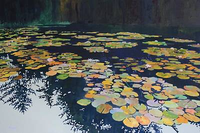 Lilly Pond Painting - Lilly Pond On A Gray Day by Denny Snyder