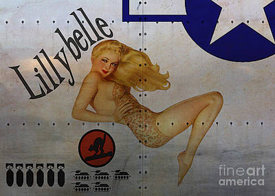 Classic Marine Art Painting - Lillybelle Nose Art by Cinema Photography