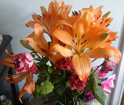 Peach Lilly Mixed Media - Lillys And Roses by Julie Dunkley