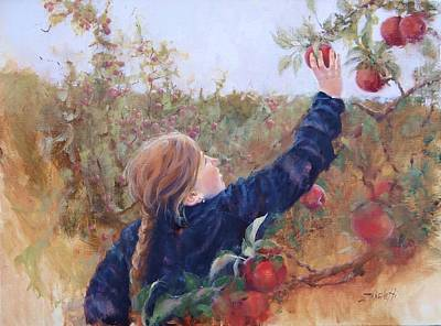 Apple Orchard Painting - Lilyana by Laura Lee Zanghetti