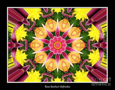 Lily And Chrysanthemums Flower Kaleidoscope Art Print