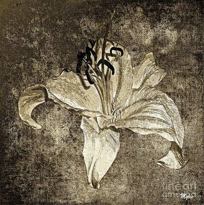 Painting - Lily Distresed White Sepia by Saundra Myles
