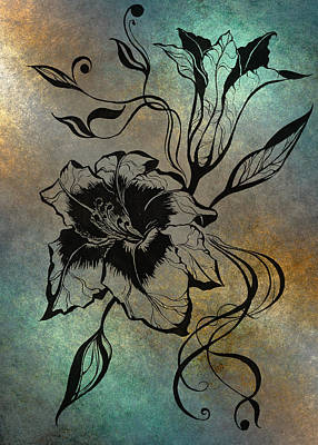 Lilies Drawings - Lily Elegance. Blue by Jenny Rainbow