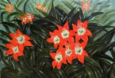 Lily Flower Art Print by Sheela Padmanabhan