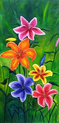 Painting - Lily Garden by Vikki Angel