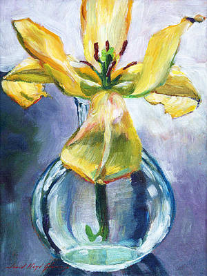 Lilies Royalty-Free and Rights-Managed Images - Lily in Glass by David Lloyd Glover