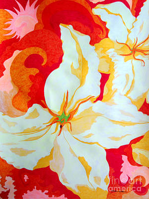 Abstract Flowers Drawings - Lily by Kathleen Allen