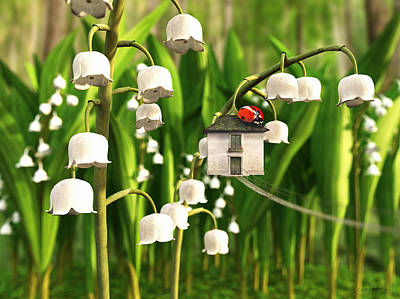 Ladybug Digital Art - Lily Of The Valley by Cynthia Decker