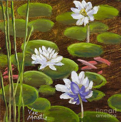 Painting - Lily Pad And Koi Fish by Vic  Mastis