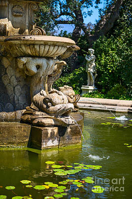 Lily Pad Fountain - Iconic Fountain At The Huntington Library. Art Print