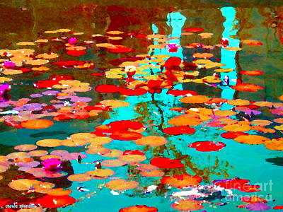 Vieux Port Painting - Lily Pads And Koi Colorful Water Garden In Bloom Waterlilies At The Lake Quebec Art Carole Spandau  by Carole Spandau