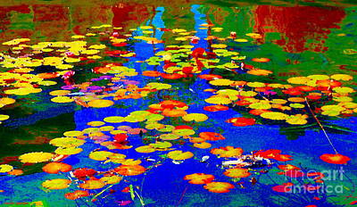 Painting - Lily Pads And Koi  Pond Waterlilies Summer Gardens Beautiful Blue Waters Quebec Art Carole Spandau  by Carole Spandau