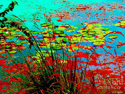 Painting - Lily Pads And Reeds Colorful Water Gardens Grasslands Along The Lachine Canal Quebec Carole Spandau by Carole Spandau