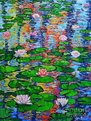 Lotus Leaves Painting - Lily Pond Colorful Reflections by Ana Maria Edulescu
