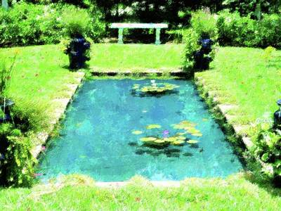 Decorative Benches Mixed Media - Lily Pond Garden by Florene Welebny
