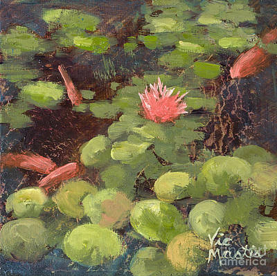 Painting - Lily Pond With Gold Leaf By Vic Mastis by Vic  Mastis