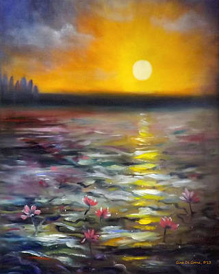 Painting - Lily Sunset 3 by Gina De Gorna