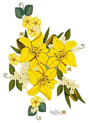Lily Triplets Art Print by Anne Norskog