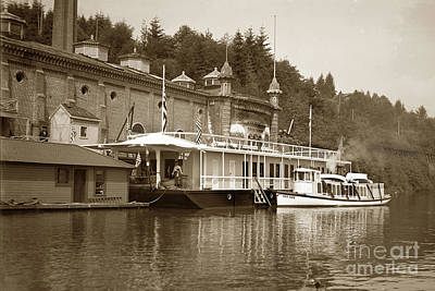 Photograph - Lily White's Houseboat At Dunthorpe Water Works Oregon Circa 1900 by California Views Mr Pat Hathaway Archives