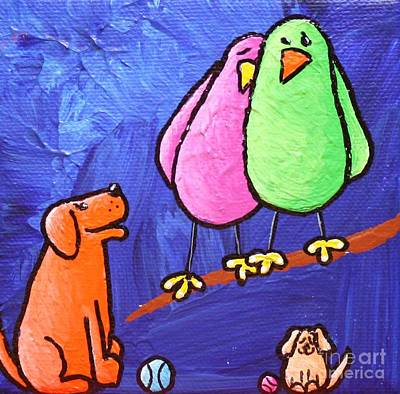 Dog With Tennis Ball Painting - Limb Birds - Big Dog Little Dog by Linda Eversole