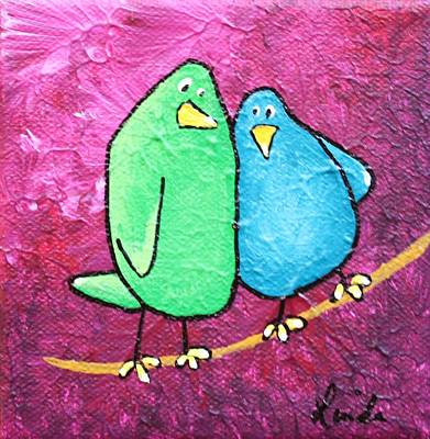 Limb Birds - Green And Turq Art Print by Linda Eversole