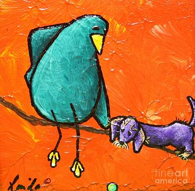 Dog With Tennis Ball Painting - Limb Birds - You Get It by Linda Eversole