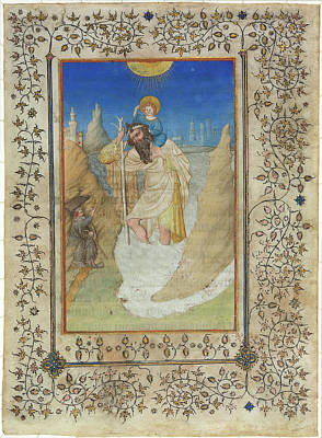 Saint Christopher Drawing - Limbourg Brothers, Saint Christopher Carrying The Christ by Litz Collection