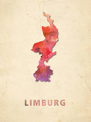 Limburg Digital Art - Limburg Watercolour Map by Big City Artwork