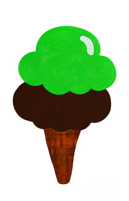 Digital Art - Lime And Chocolate Ice Cream by Andee Design