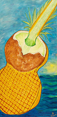 Lime Coconut Pineapple Guitar Original by Phoenix The Moody Artist