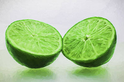 Photograph - Lime Food Painted Digitally 3 by David Haskett