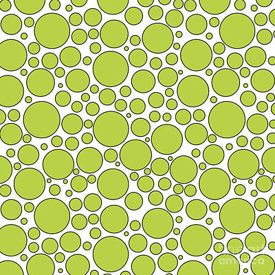 Digital Art - Lime Green And White Bubbles by Jackie Farnsworth
