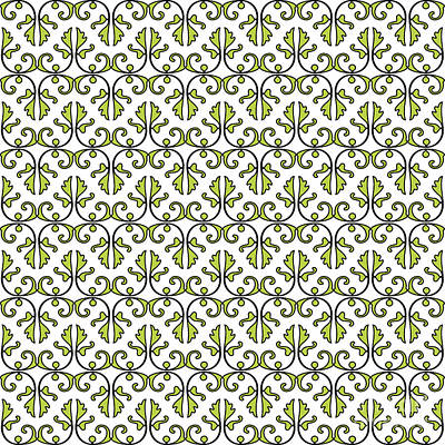Digital Art - Lime Green And White Vines by Jackie Farnsworth